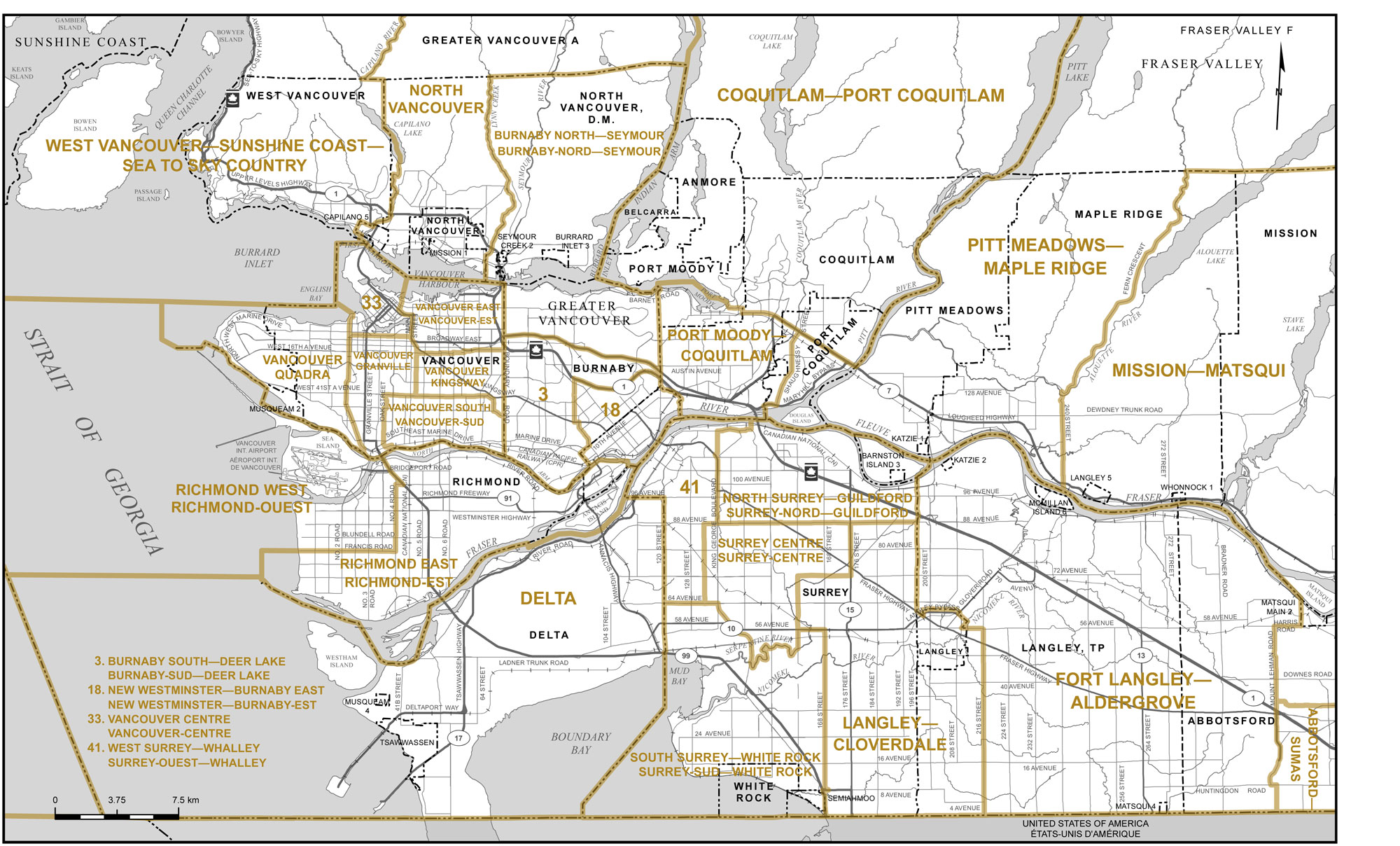 Proposed boundaries british columbia redistribution federal map of city of vancouver and vicinity sciox Image collections